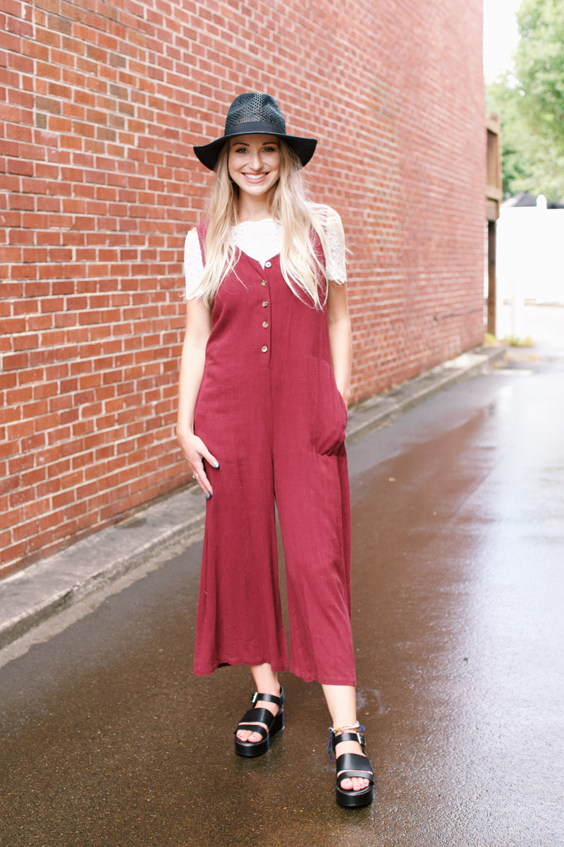 Blair Sleeveless Jumpsuit, Cranberry