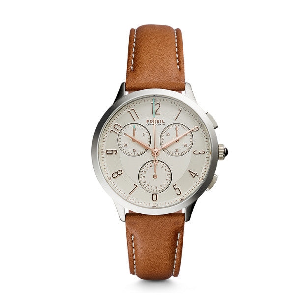 Abilene Chronograph Leather Watch, Brown - The Loft Boutique - Accessory  - 1