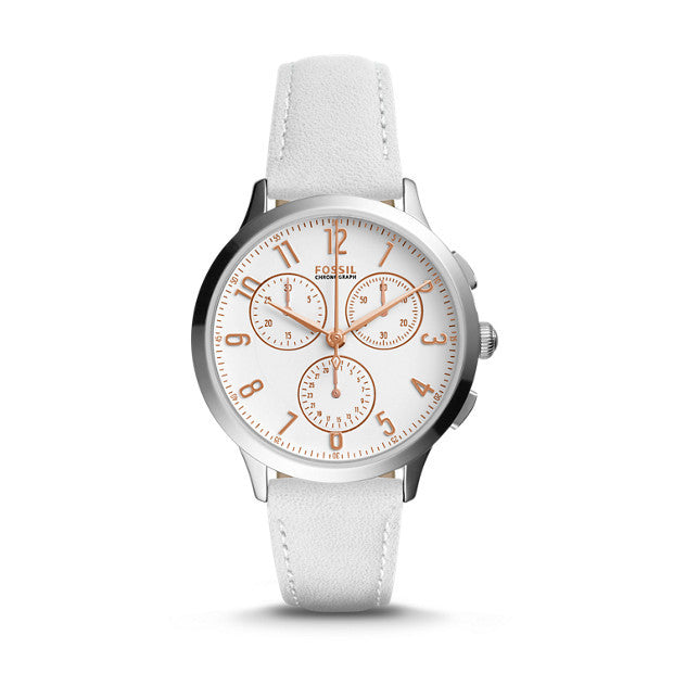 Abilene Chronograph Leather Watch, White by Fossil