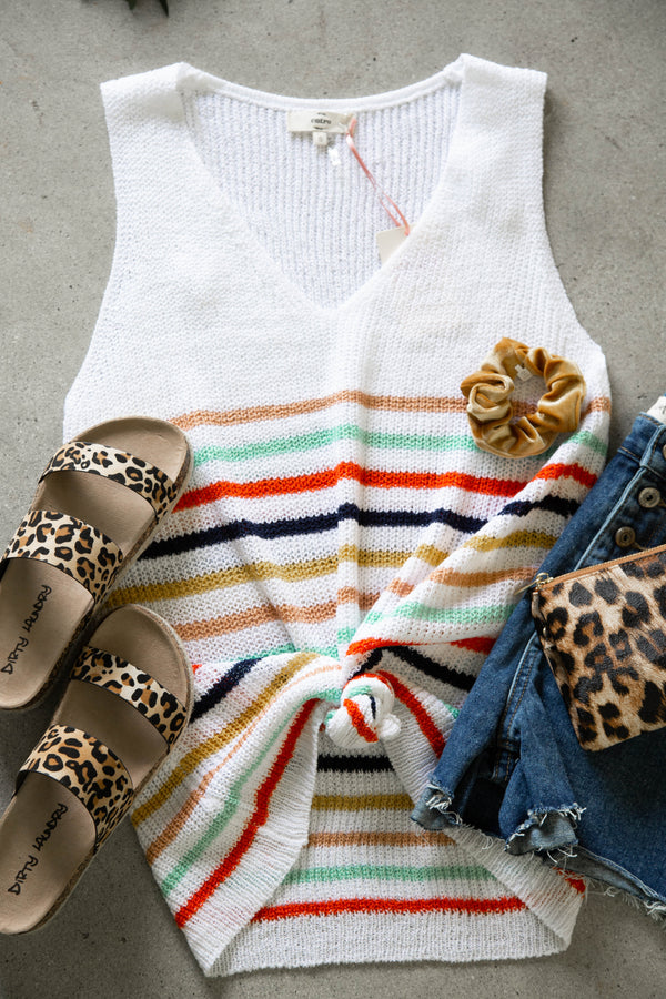 City Walk Striped Sweater, Ivory Multi