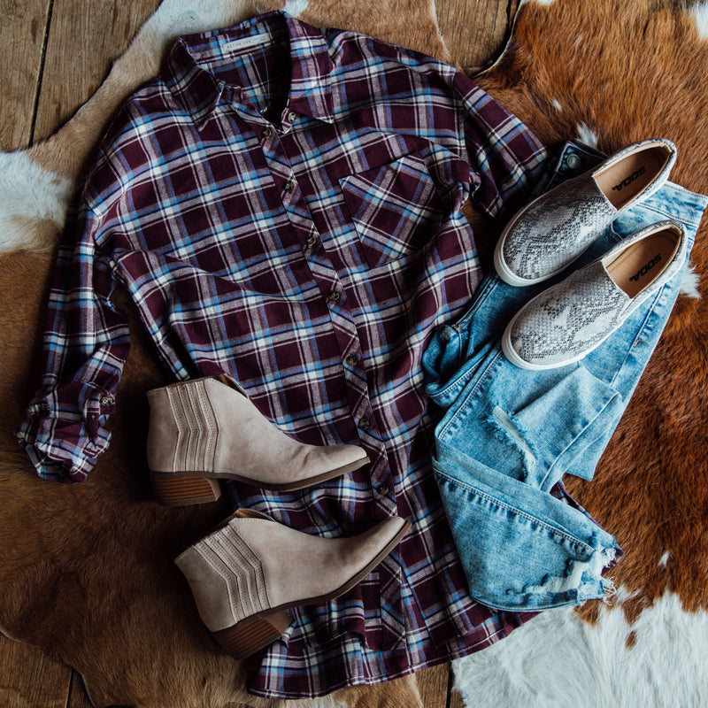 Cozy Plaid Tunic, Burgundy