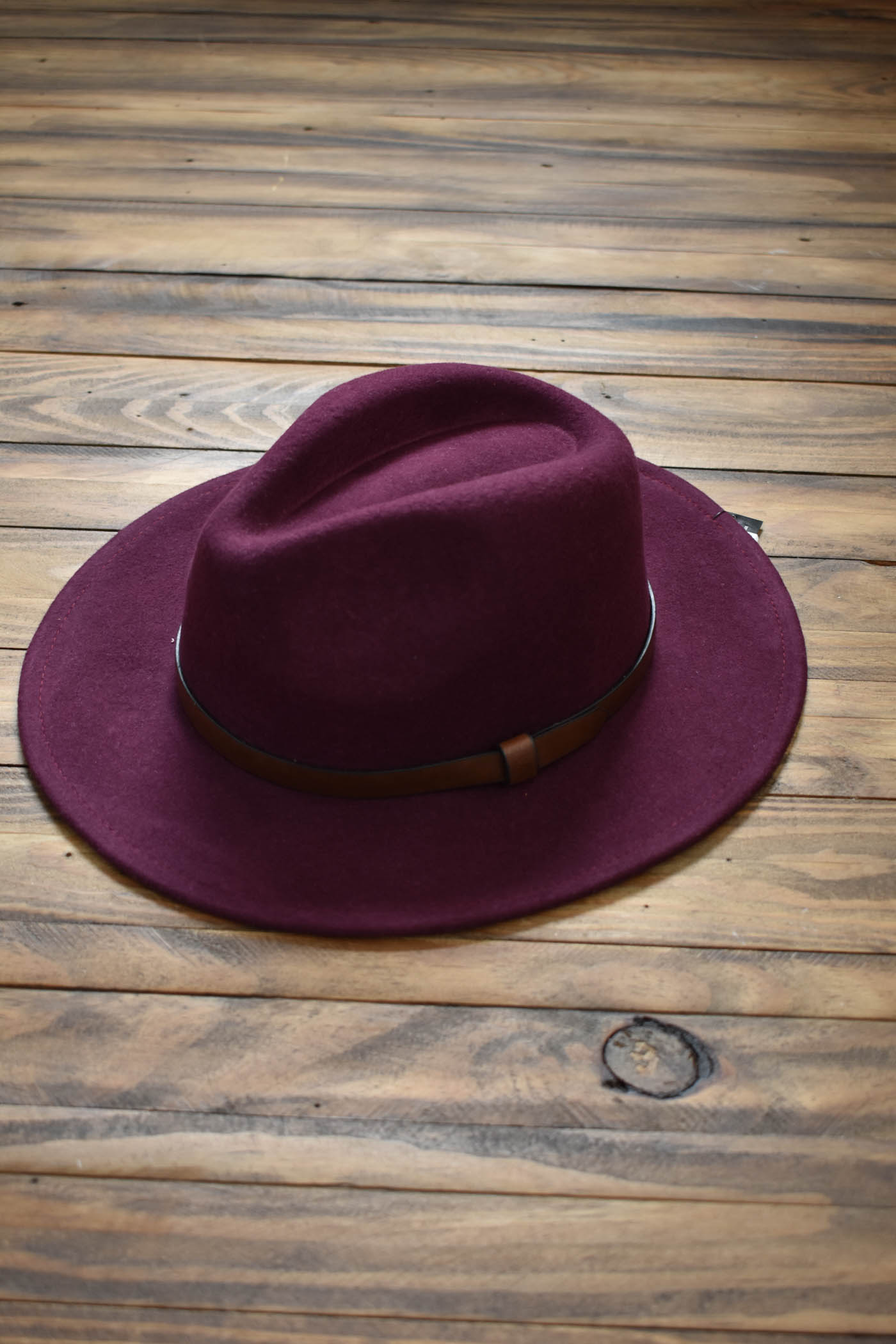 Wool Felt Panama Hat, Plum