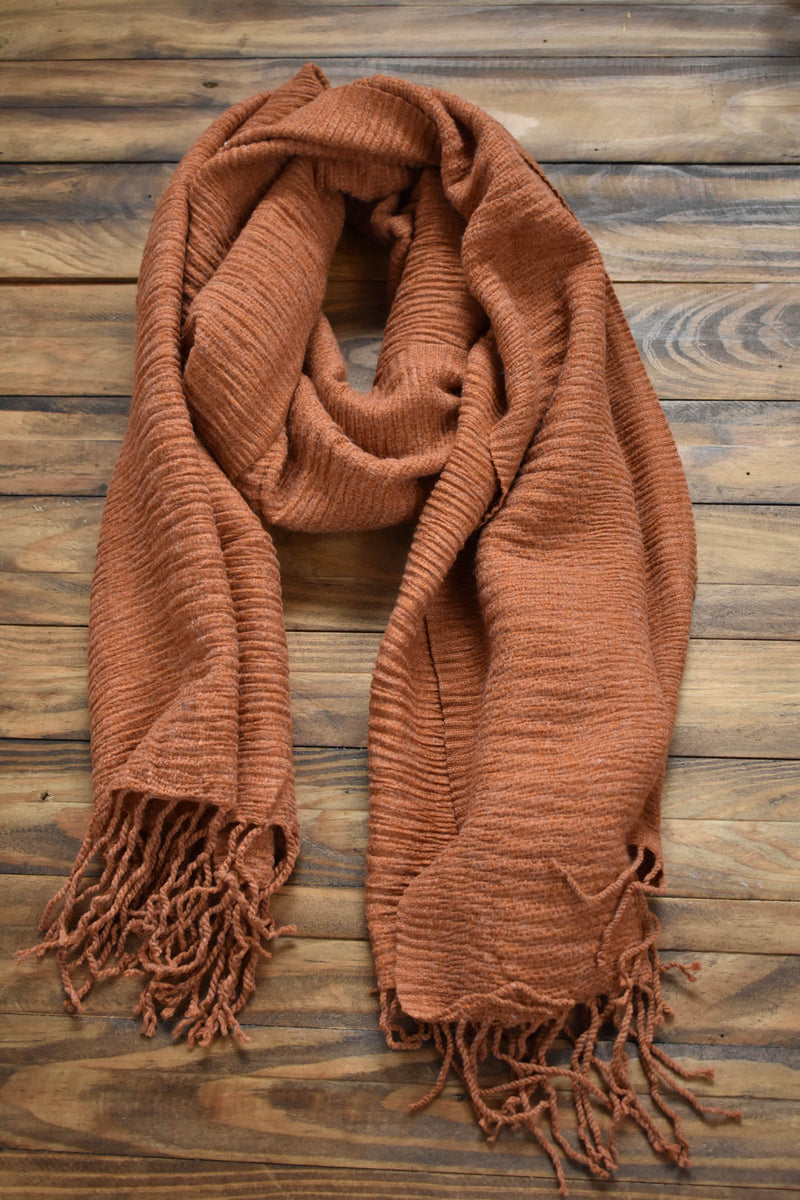 Ridge Textured Tassel Scarf, Rust