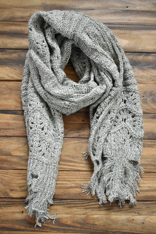 Feather Knit Boho Scarf, Oatmeal