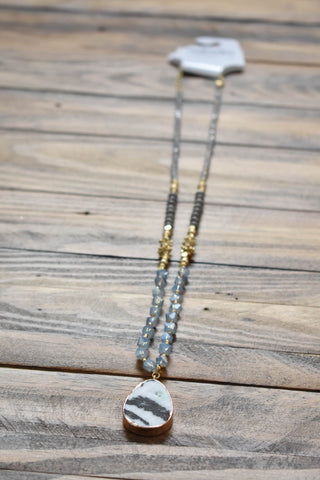 Beaded Stone Teardrop Necklace, Blue/Grey | Fashion Jewelry