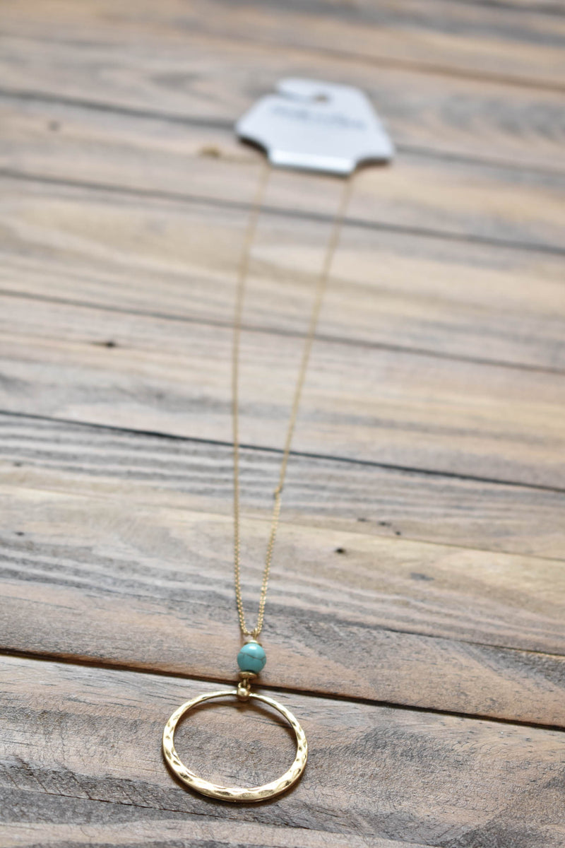 Circle Pearl Pendant Necklace, Gold/Turquoise