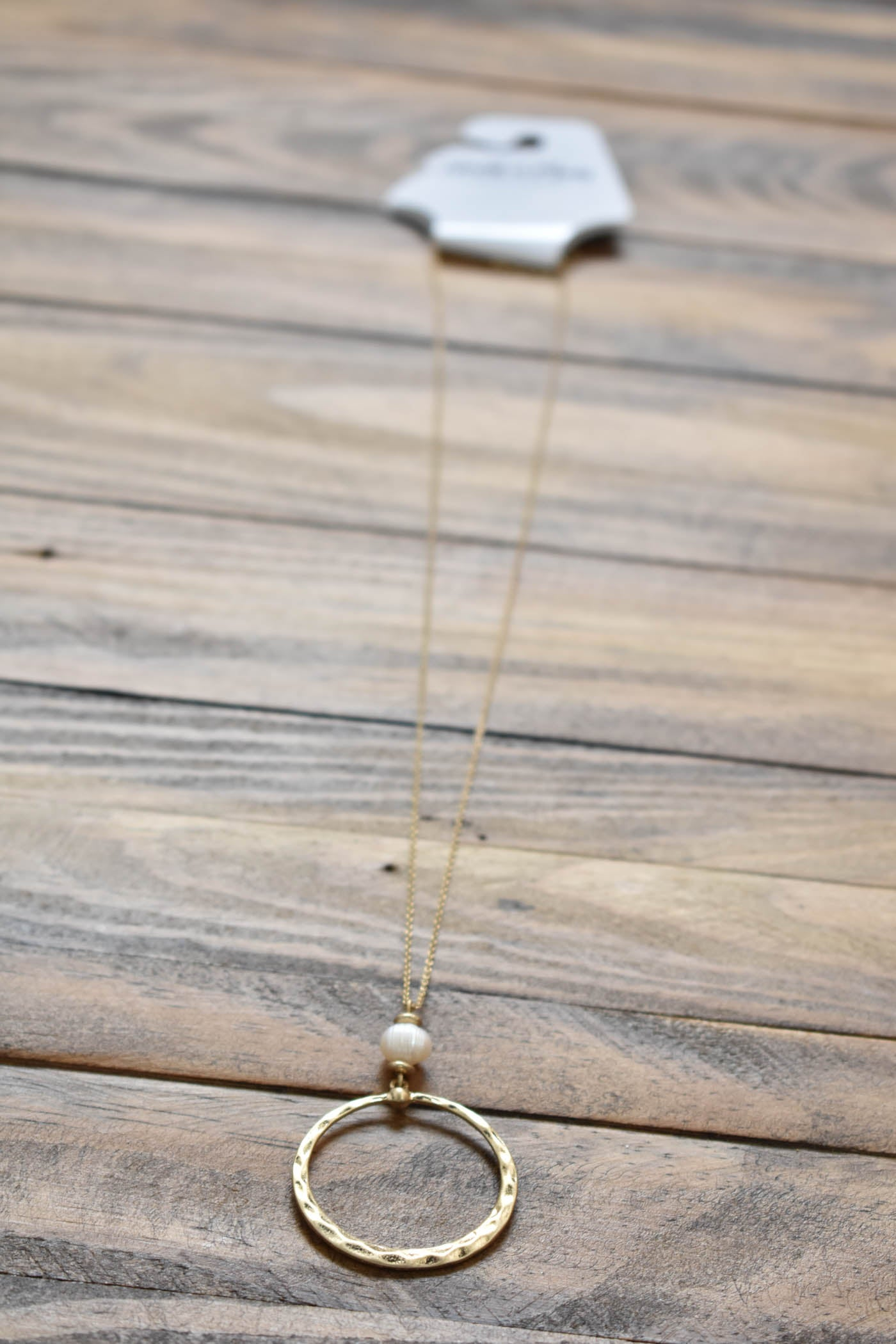 Circle Pearl Pendant Necklace, Gold/White