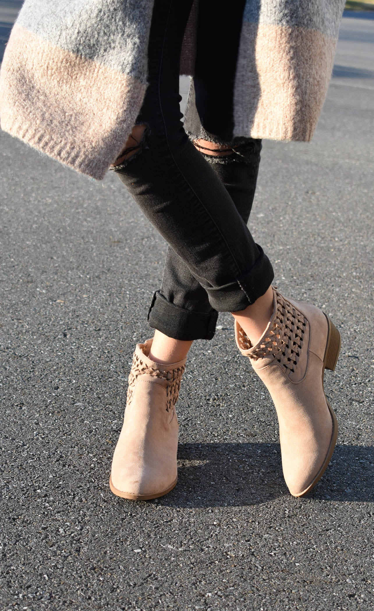 Suede Woven Bootie, Warm Taupe