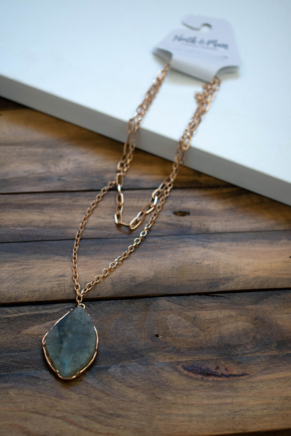 Teardrop Stone Layer Necklace, Grey