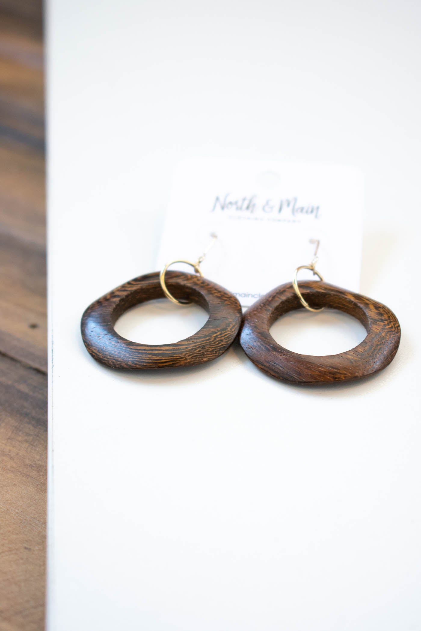 Wood Circle Earring, Brown