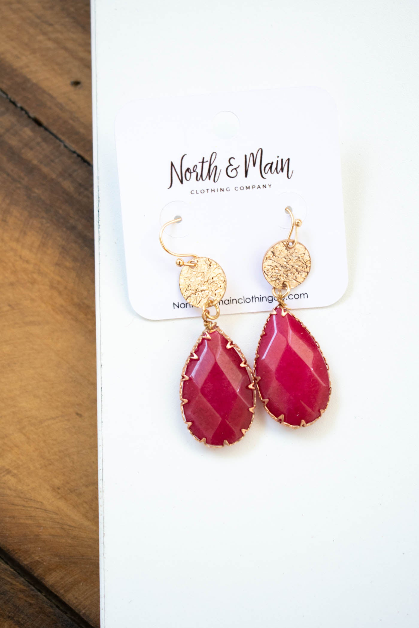 Teardrop Stone Earring, Wine
