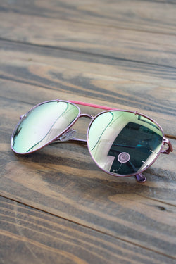 Skyward Aviator Sunnies, Pink/Mirror