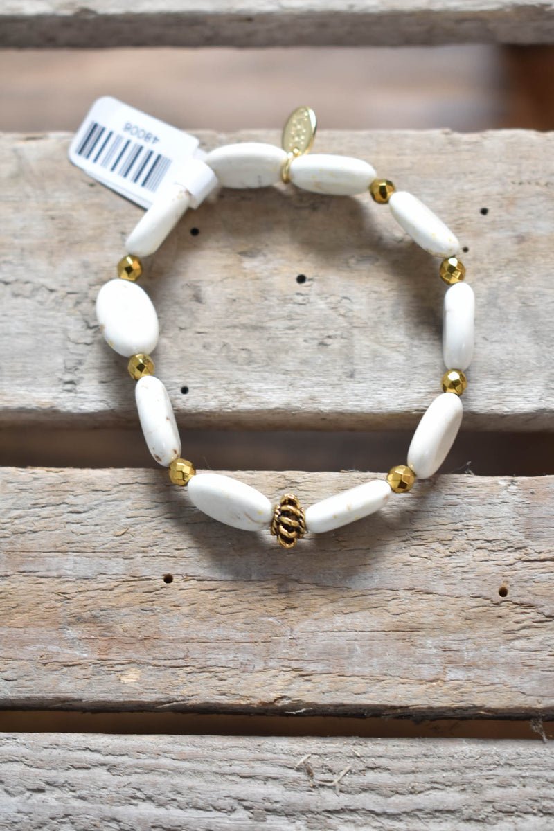 Blondie Stack Bracelet, Cream | betsy pittard designs