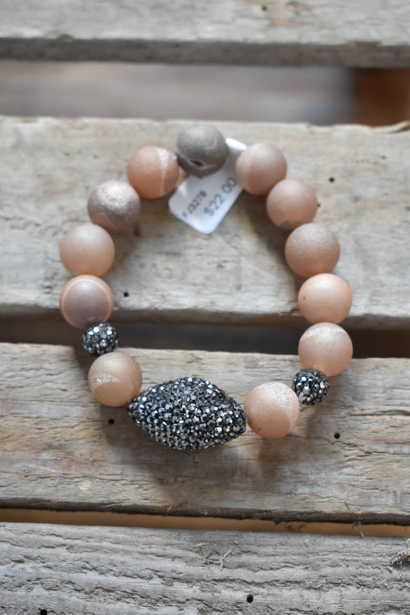 Matte Jewel Beaded Bracelet, Beige