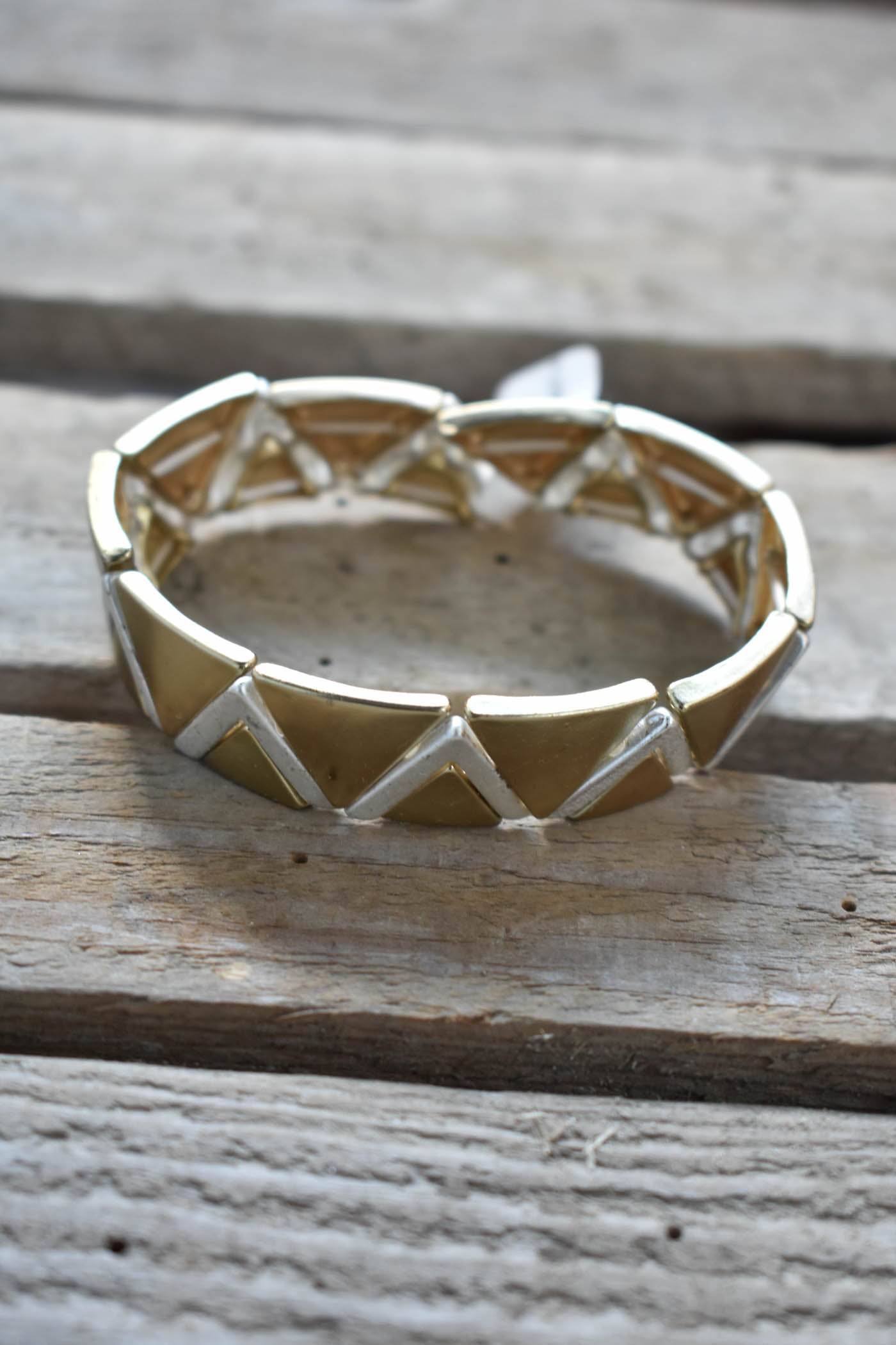 Metal Zig Zag Bracelet, Gold/Silver | Fashion Accessories