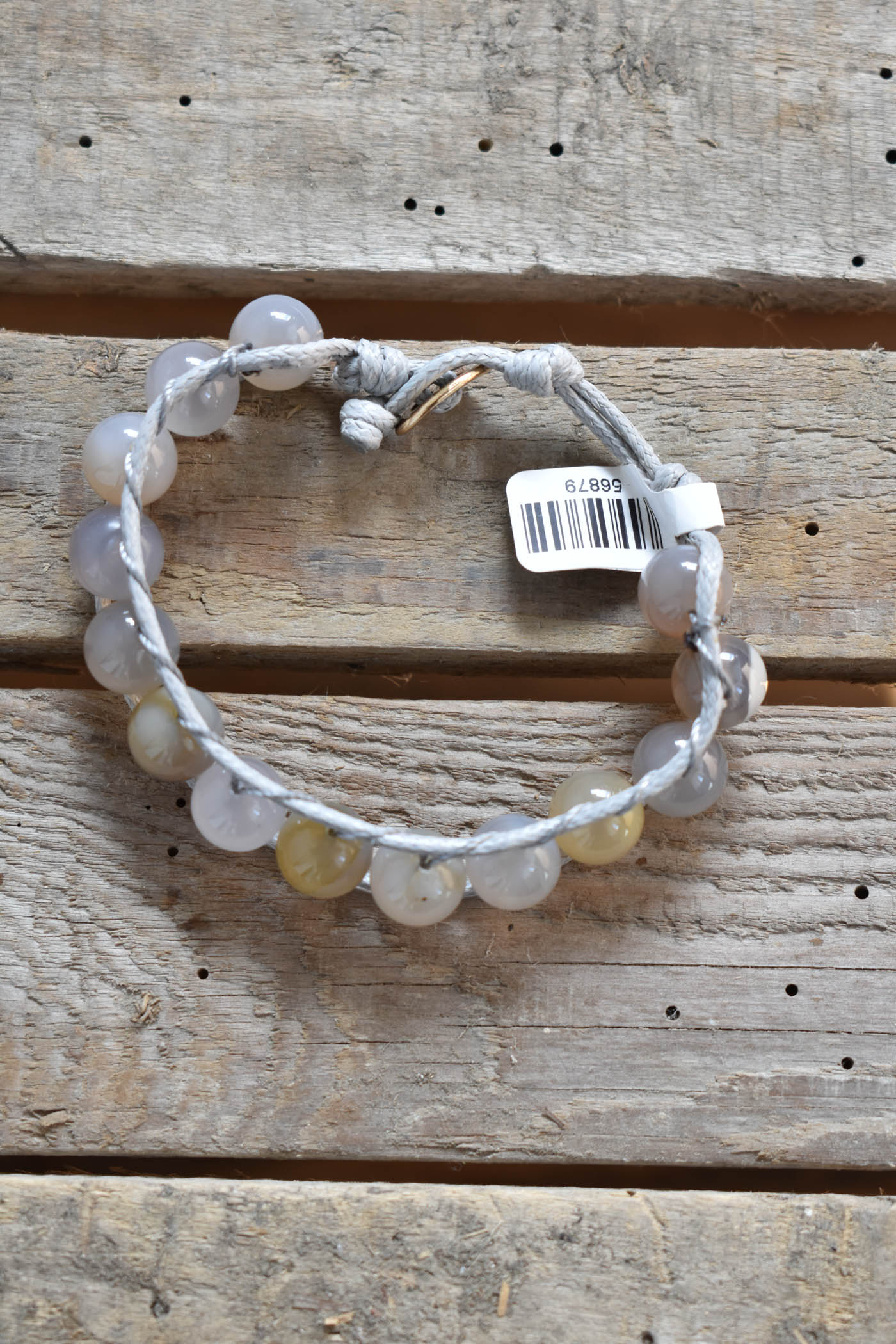 Beaded Thread Bracelet, Grey