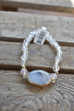 Stone Pendant Beaded Bracelet, Clear | Fashion Accessories