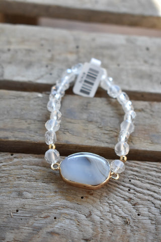 Stone Pendant Beaded Bracelet, Clear