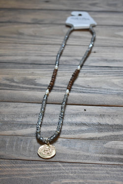 Gold Coin Charm Necklace, Grey | Fashion Jewelry