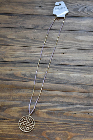 Large Pendant Beaded Necklace, Light Purple