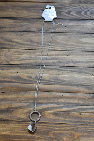 Faux Leather Cord Pendant Necklace, Grey