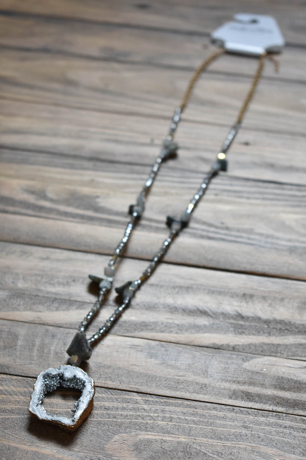 Stone Bead & Druzy Slice Necklace, Silver