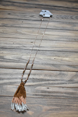 Beaded Bronze Tassel Necklace, Bronze/Peach