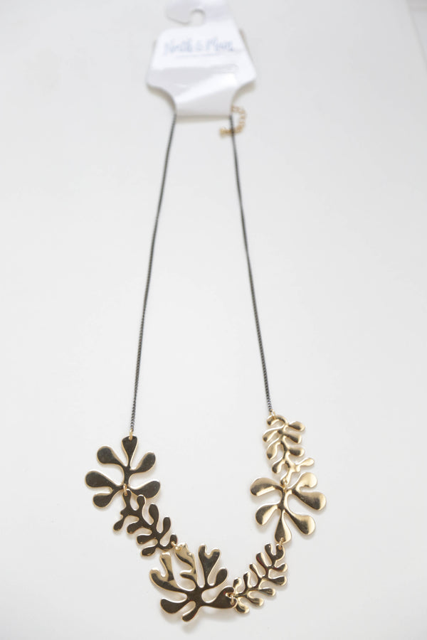 Metal Leaf Necklace, Gold