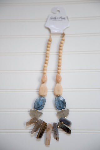 Wood Beaded Stone Necklace, Multi