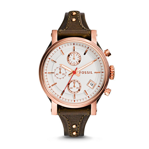Original Boyfriend Chronograph Leather Watch, Raisin - The Loft Boutique - Accessory  - 1