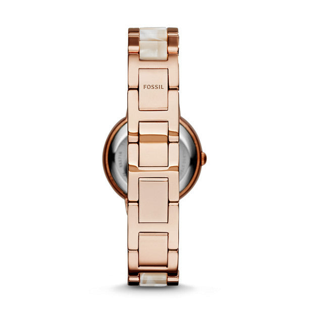Virginia Horn Acetate Stainless Steel Watch, Rose | FOSSIL