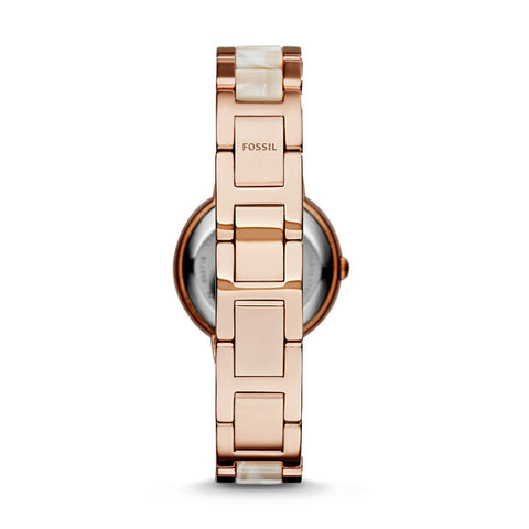 Virginia Horn Acetate Stainless Steel Watch, Rose