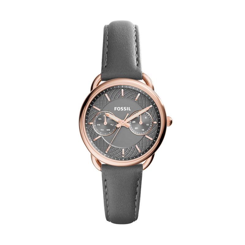 Tailor Multifunction Leather Watch, Grey | Fossil