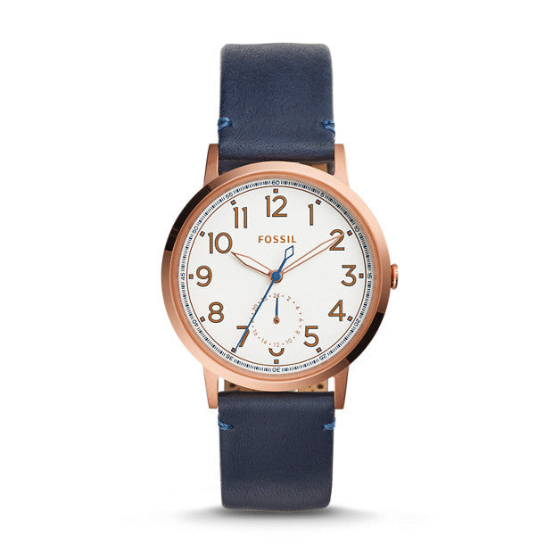 Fossil Everyday Muse Multifunction Leather Watch, Indigo