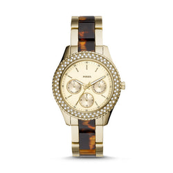 Stella Multifunction Two-Tone Stainless Steel and Acetate Watch, Gold | Fossil®