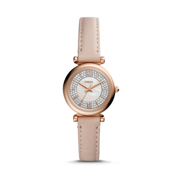 Carlie Mini Three-Hand Nude Leather Watch, Pink | Fossil®