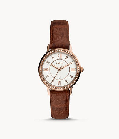 Gwen Three-Hand Date Leather Watch, Brown | Fossil®