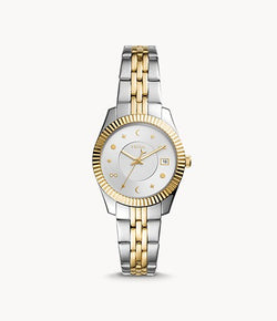 Scarlette Mini Three-Hand Date Two-Tone Stainless Steel Watch, Silver/Gold | Fossil®