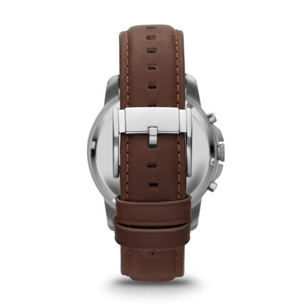 Fossil Grant Chronograph Leather Watch, Brown & Charcoal