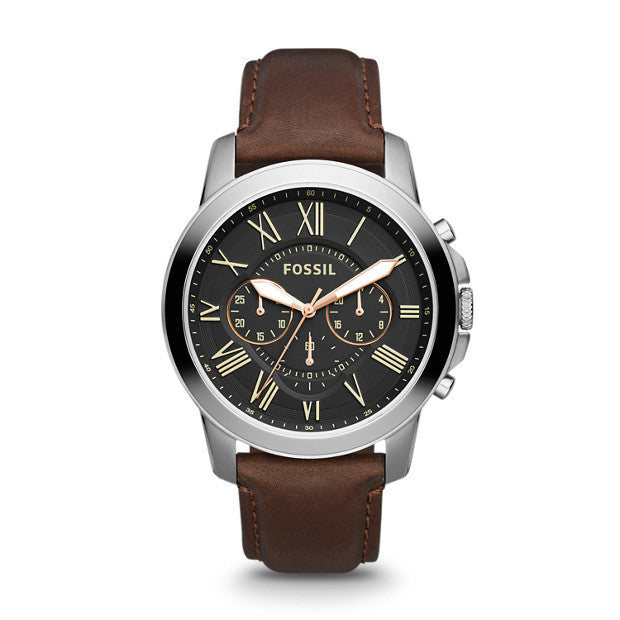 Grant Chronograph Leather Watch, Brown & Charcoal