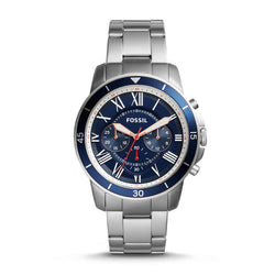 Grant Sport Chronograph Stainless Steel Watch, Blue by Fossil