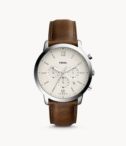 Neutra Chronograph Leather Watch, Dark Brown | Fossil®