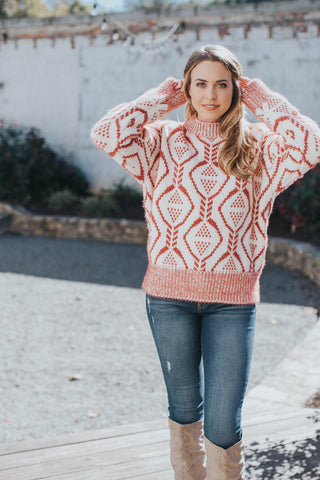 Scalloped Hem Sweater, Pale Pink