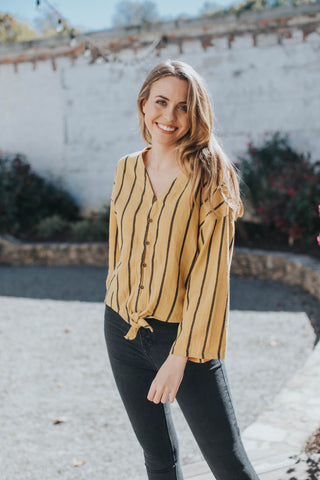 Alyce Striped Button Up Top, Mustard