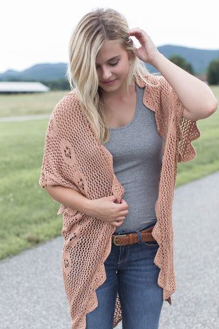 Scalloped Crochet Cardigan, Mauve