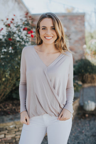 Michelle Wrap Front Top, Light Mauve