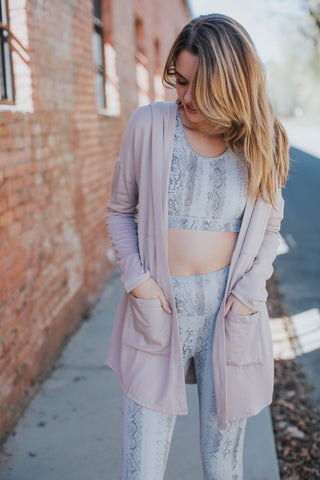 Hooded Cardigan Jacket, Dusty Pink