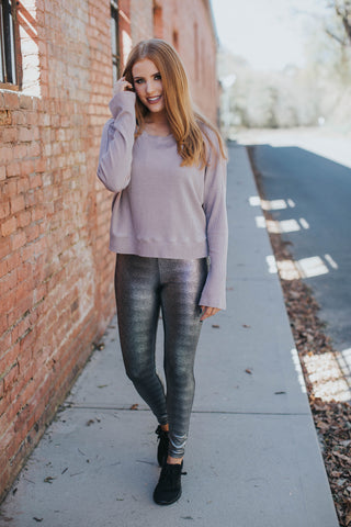 Thermal Pullover Top, Dusty Pink