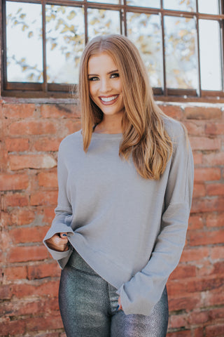 Thermal Pullover Top, Grey