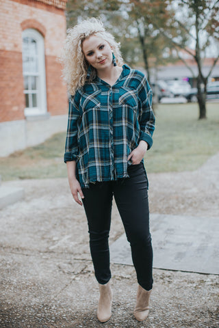 Frayed Plaid Button Up, Teal Mix